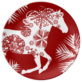 Red and White Snowflake Christmas Horse Plate