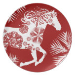 Red and White Snowflake Christmas Horse Party Plates