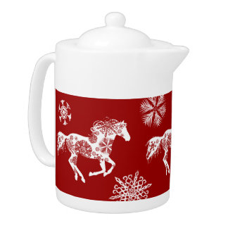 Red and White Snowflake Christmas Horse Teapot
