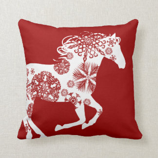 Red and White Snowflake Christmas Horse Throw Pillow