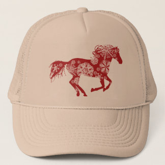 Red and White Snowflake Christmas Horse Trucker Hat