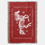 Red and White Snowflake Christmas Horse Throw Blanket