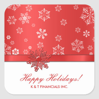 Red and White Snowflake Corporate Christmas Square Sticker