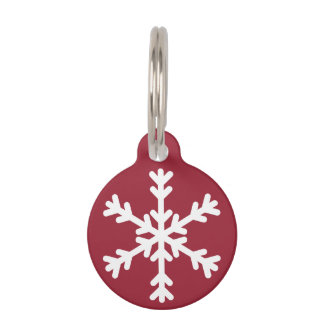 Red and White Snowflake Holiday Dog Pet Tag