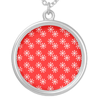 Red and White Snowflake Necklace