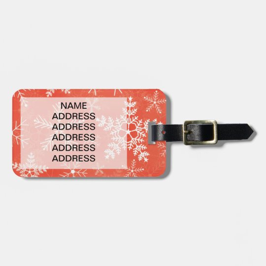 Red and White Snowflake Pattern Bag Tag
