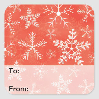 Red and White Snowflake Pattern Gift Tags