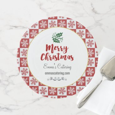 Professional Business Red and White Snowflake Pattern Merry Christmas Cake Stand