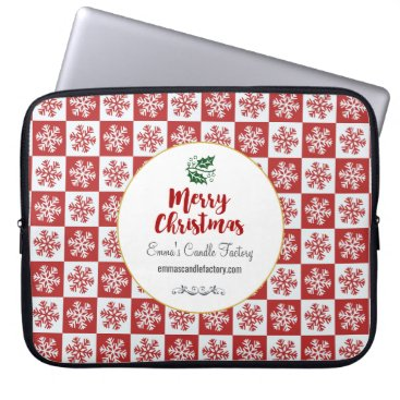 Professional Business Red and White Snowflake Pattern Merry Christmas Computer Sleeve