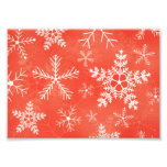 Red and White Snowflake Pattern Photo Print