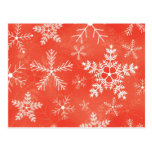 Red and White Snowflake Pattern Post Cards