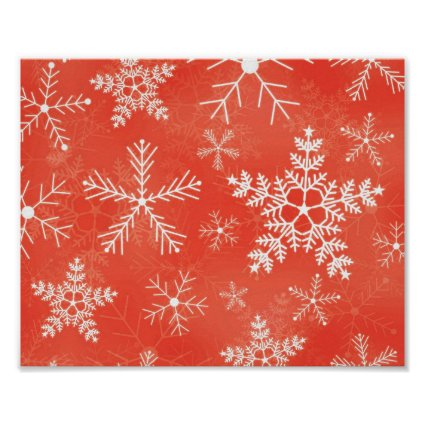 Red and White Snowflake Pattern Print