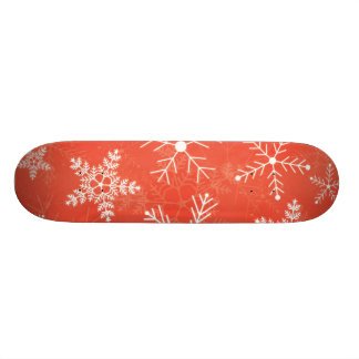 Red and White Snowflake Pattern Skate Deck