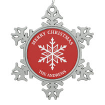 Red and White Snowflake Pewter Christmas Ornament