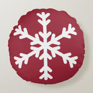 Red and White Snowflake Pillow Round Pillow
