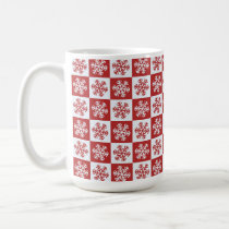 Red and White Snowflake Themed Christmas Ornament Coffee Mug