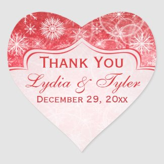 Red and White Snowflake Wedding Favor Sticker