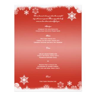 Red and White Snowflake Wedding Menu