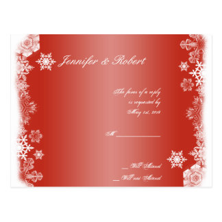 Red and White Snowflake Wedding RSVP Postcard