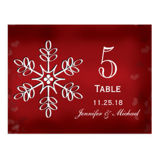 Red and White Snowflake Wedding Table Number Cards Post Card