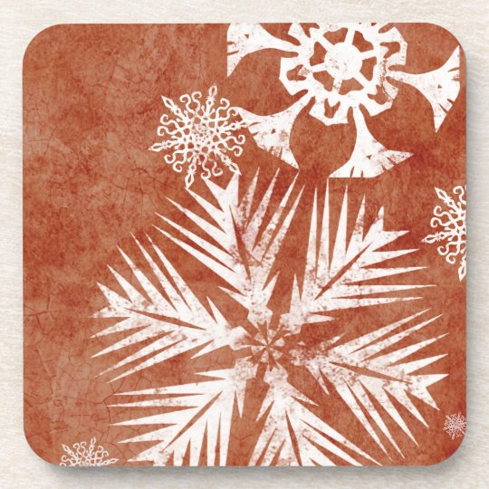 Red and White Snowflakes Christmas Beverage Coaster