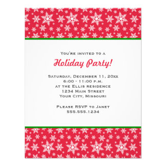 Red and White Snowflakes Christmas Party Personalized Invitation