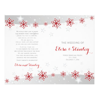 Red and white snowflakes folded wedding program