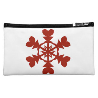 Red and White Snowflakes Holiday Cosmetic Bag