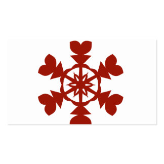 Red and White Snowflakes Holiday Double-Sided Standard Business Cards (Pack Of 100)