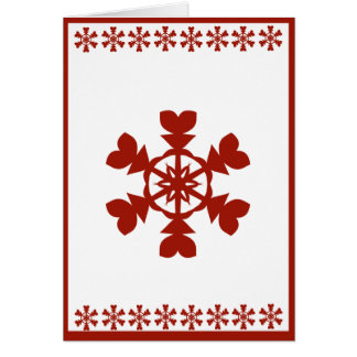 Red and White Snowflakes Holiday Card