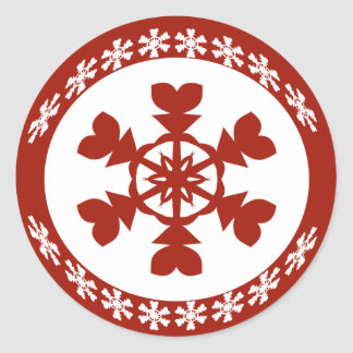 Red and White Snowflakes Holiday Classic Round Sticker