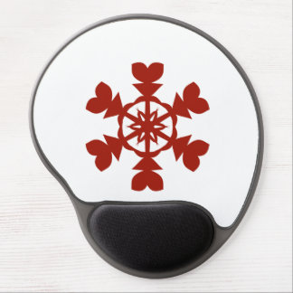 Red and White Snowflakes Holiday Gel Mouse Pad