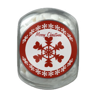 Red and White Snowflakes Holiday Glass Candy Jar
