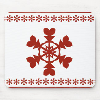 Red and White Snowflakes Holiday Mouse Pad
