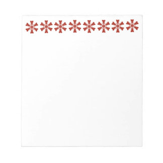 Red and White Snowflakes Holiday Note Pad
