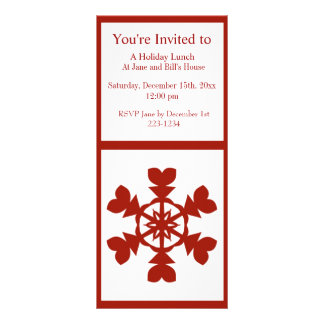 Red and White Snowflakes Holiday Rack Card