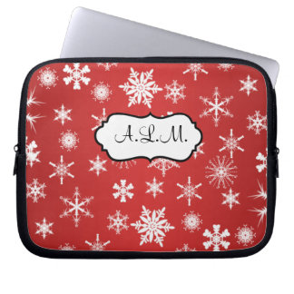 Red and White Snowflakes Laptop Sleeve
