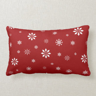 Red and white snowflakes pattenr throw pillow