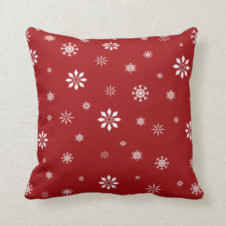 Red and white snowflakes pattenr pillow