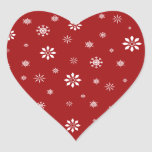 Red and white snowflakes pattern heart sticker