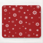 Red and white snowflakes pattern mouse pads