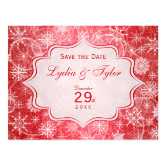 Red and White Snowflakes Save the Date Card Post Cards