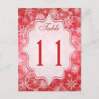 Red and White Snowflakes Table Number Card