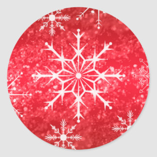 Red and White Snowflakes Wedding Envelope Seal Classic Round Sticker