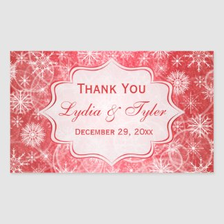 Red and White Snowflakes Wedding Favor Sticker