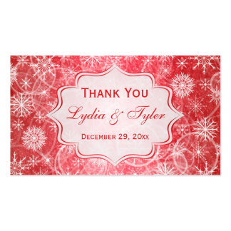 Red and White Snowflakes Wedding Favor Tag Double-Sided Standard Business Cards (Pack Of 100)