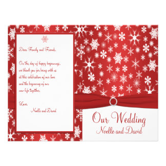 Red and White Snowflakes Wedding Program