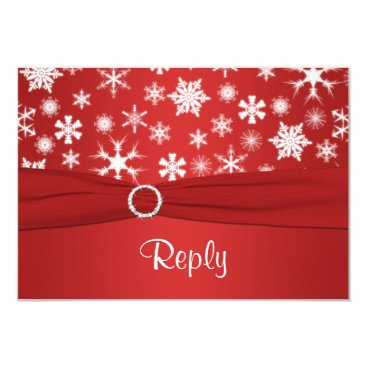 Red and White Snowflakes Wedding Reply Card 2