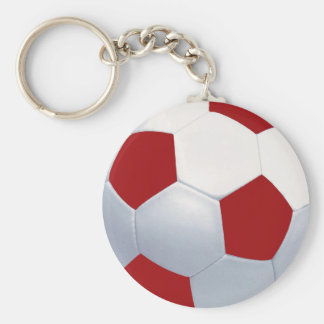Red and White Soccer Ball Keychain