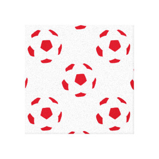 Red and White Soccer Ball Pattern Gallery Wrapped Canvas